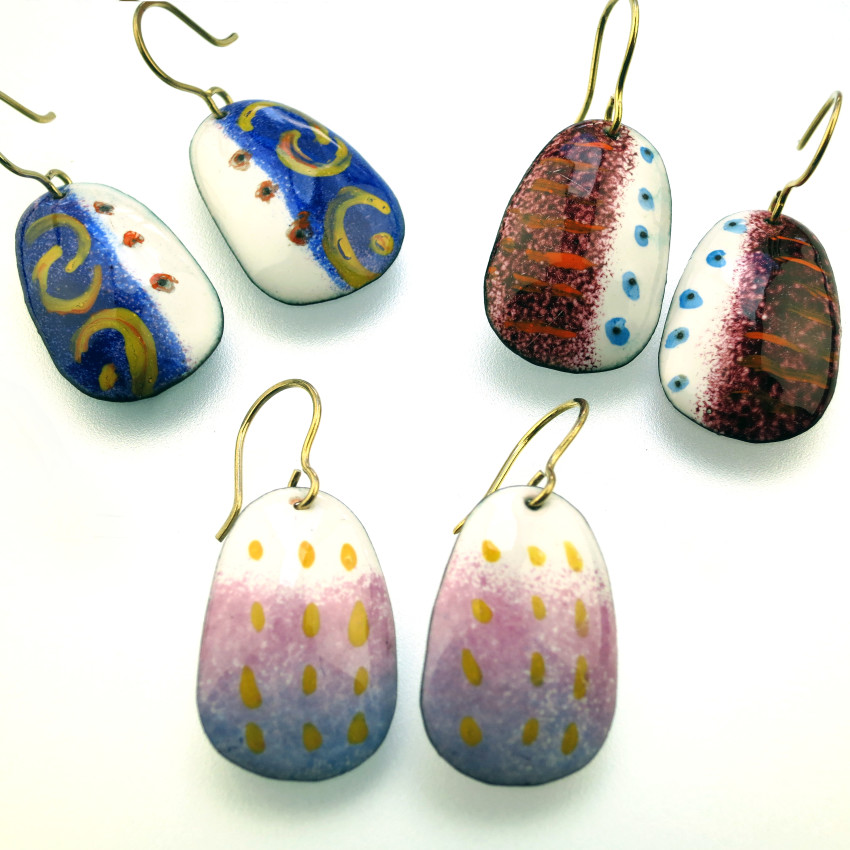 Enamel Copper Earrings Jenne Rayburn