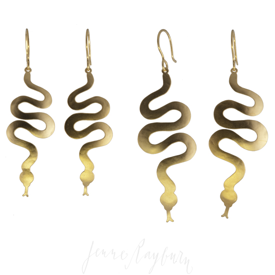 Jenne Rayburn Ark Collection 18k Gold Plated Snake Earrings