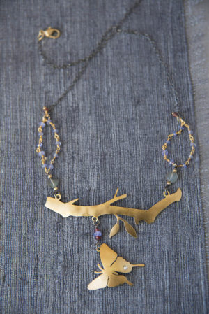 Gold Artisan Handcrafted Butterfly Necklace - Jenne Rayburn | Past Works
