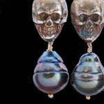 Ossis Collection-Oxidized-Skull-Pearl-Earrings