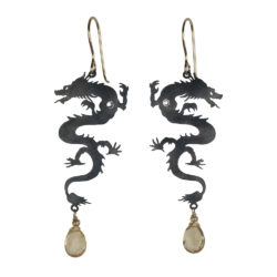 Jenne Rayburn | Antiqued Silver Dragon Earrings With Topaz Drops