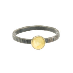 ring-hammered-silver-14K-gold-disc-jenne rayburn