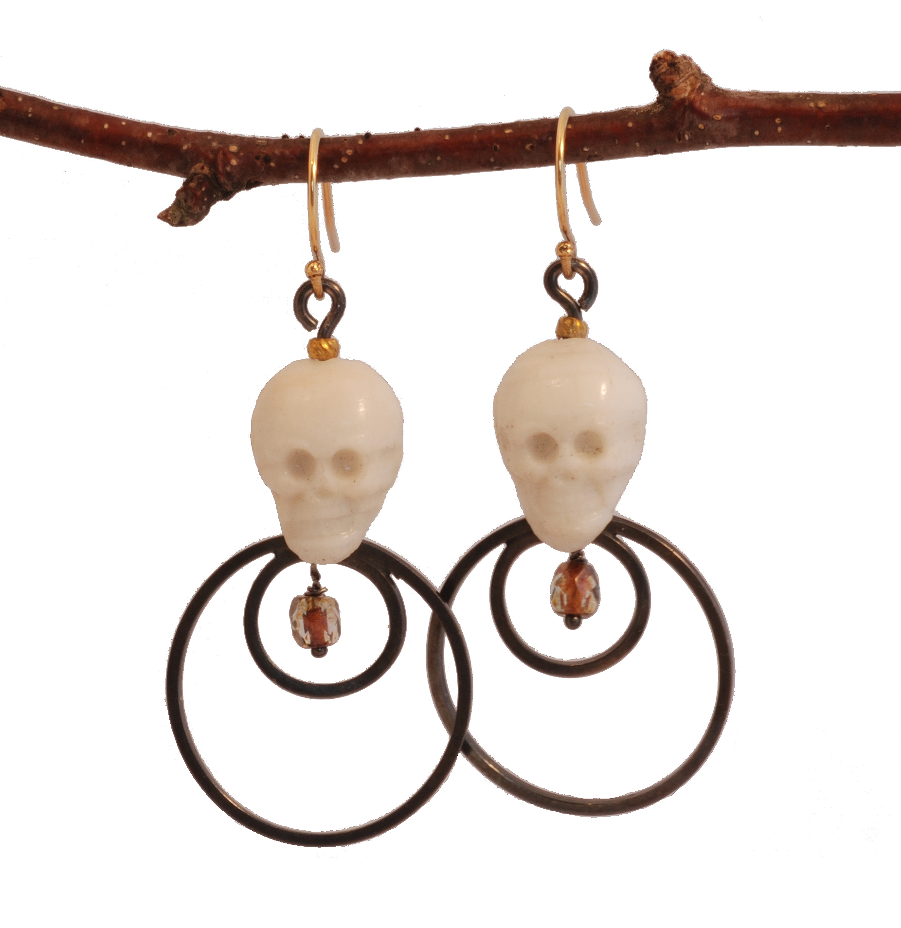 Sterling Silver and Bone Skull Earrings