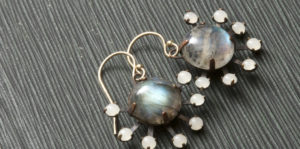 Jenne Rayburn labradorite vintage glass earrings