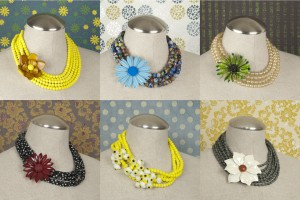 Statement necklaces with vintage enamel flowers, vintage glass and lucite beads, by Jenne Rayburn