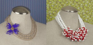 Vintage Statement Necklaces with Enamel Flower Brooch, Vintage Glass and Lucite Beads, by Jenne Rayburn