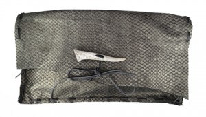 Metalic Gray Embossed Leather Clutch With Antler Clasp By Jenne Rayburn