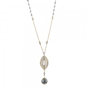 Jenne Rayburn   Faceted Shield Pendant Necklace