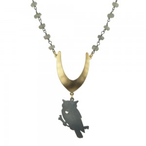 Jenne Rayburn   Antiqued Silver Owl Necklace