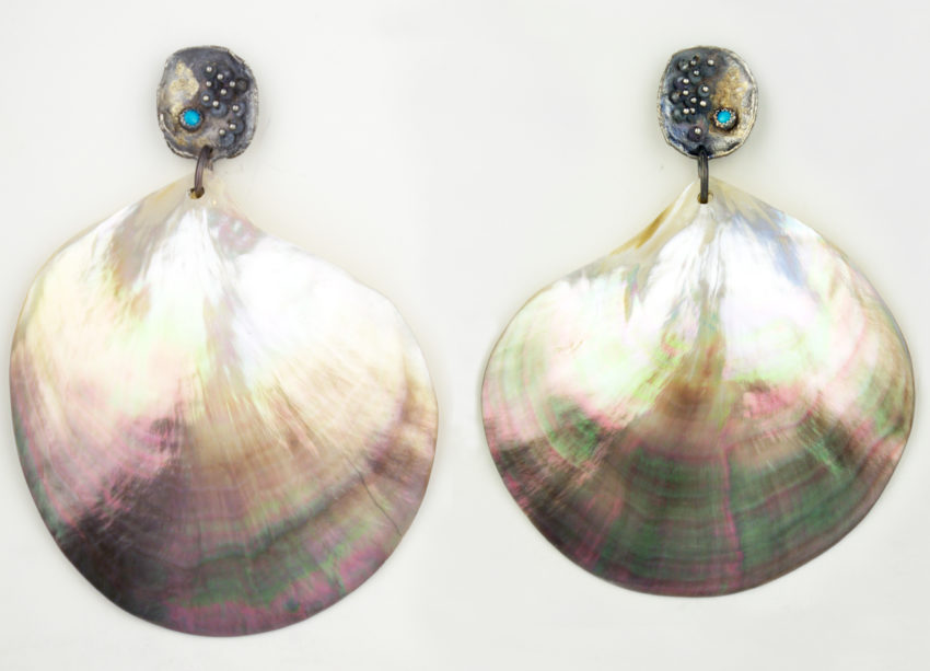 pearl-shell-silver-tourquoise-earrings-jenne rayburn