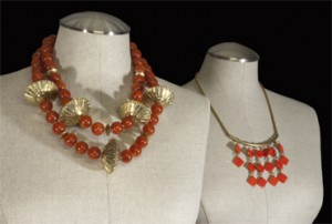 Vintage lucite, glass and brass bead Red Show Necklaces