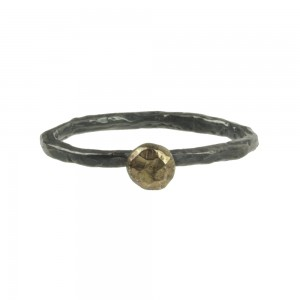 ring-hammered-silver-18K-gold-nugget-jenne rayburn-1