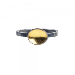 ring-hammered-silver-14K-gold-oval-jenne rayburn