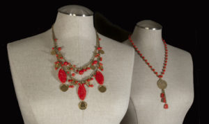Asian Inspired Vintage Glass and Brass Dangle Necklaces