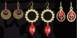Vintage Glass and Brass Dangle Earrings
