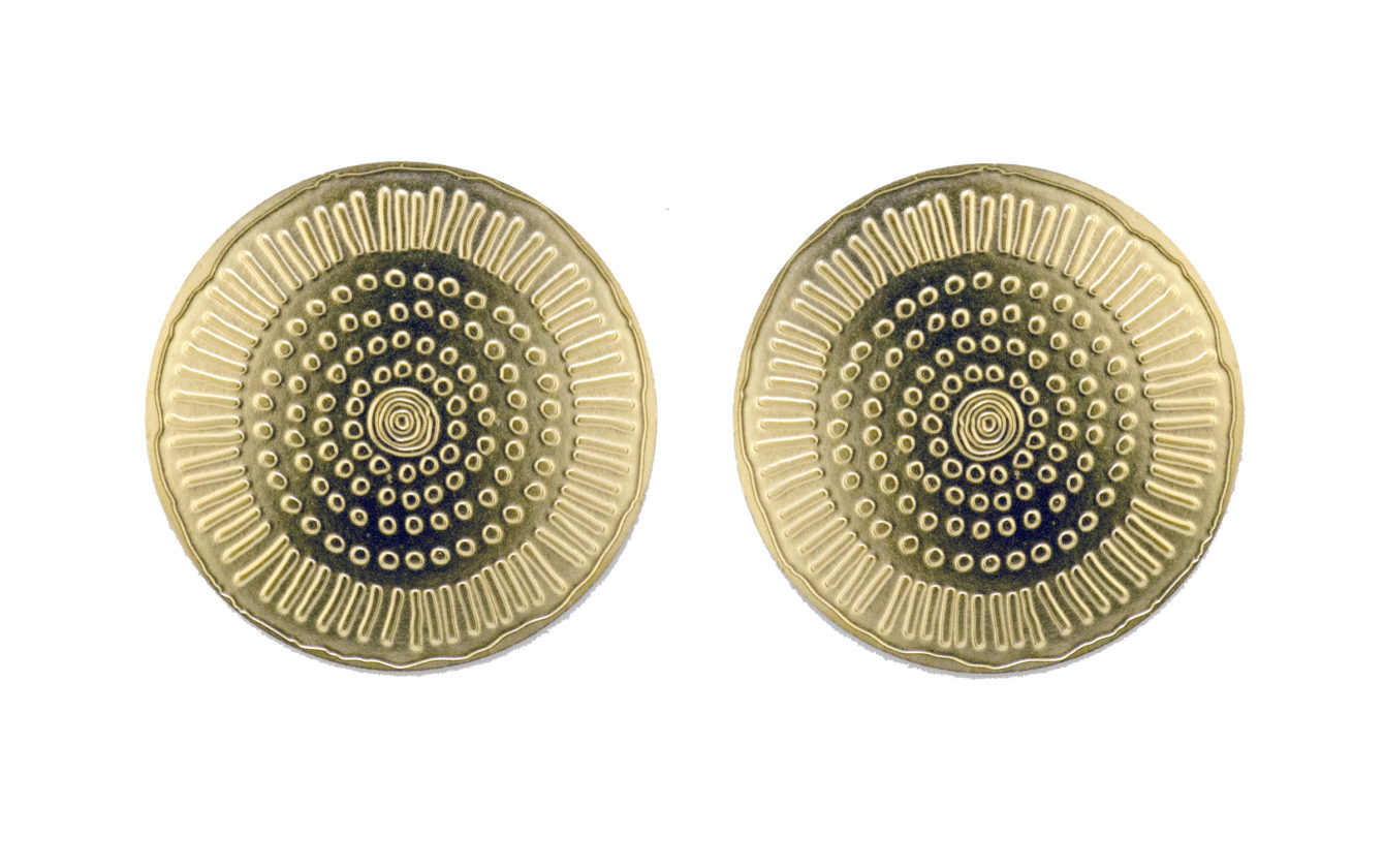 Ancient Gold Embossed Circle Post Earrings