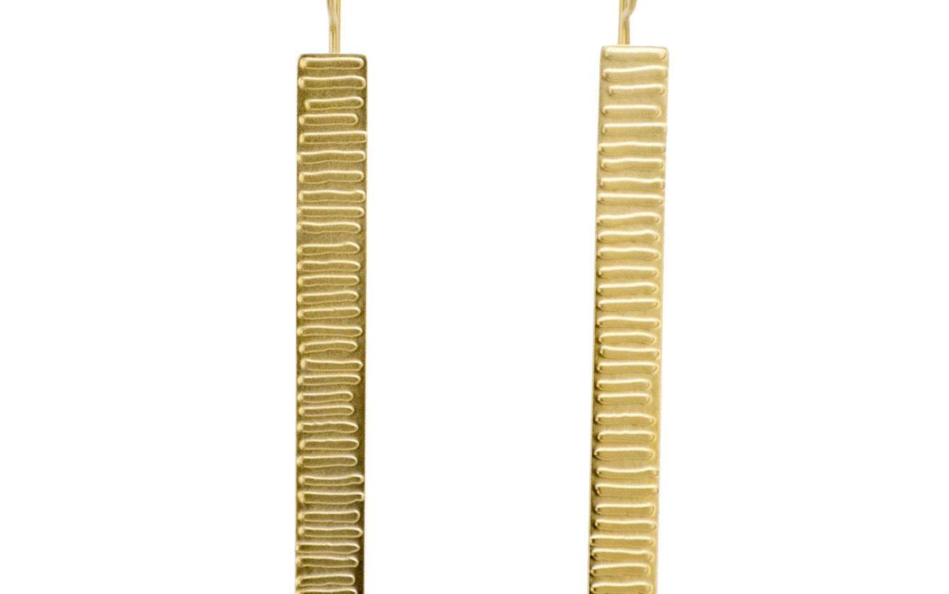 Ancient Gold Embossed 'Stick' Earrings