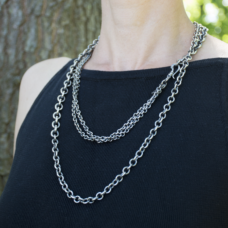 linings catch necklace recycled chain the handcrafted silver collection and hook chains